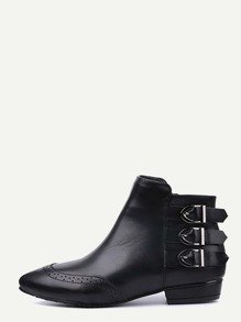 Black Buckled Strap Pointed Wingtip Ankle Boots