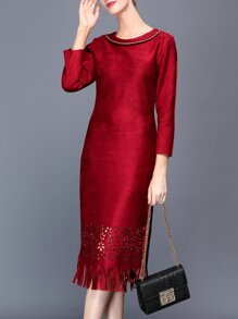 Burgundy Hollow Tassels Sheath Dress