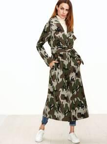 Olive Green Camo Pattern Longline Wrap Coat