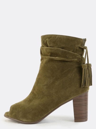 Peep Toe Faux Suede Ankle Boots OLIVE pictures