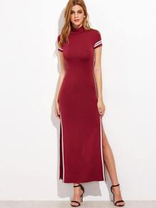 Burgundy Striped Trim Open Back High Split Maxi Dress