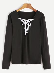 Black V Neck Lace Up T-shirt