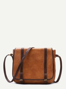 Brown Faux Leather Buckled Strap Satchel Bag