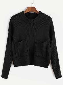 Black Drop Shoulder Pockets Front Sweater
