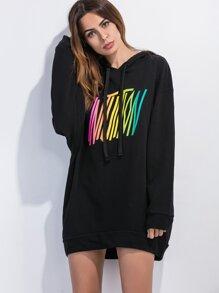 Black Hooded Drop Shoulder Letter Print Sweatshirt Dress