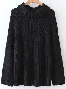 Black Turtleneck Raglan Sleeve Sweater