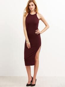 Burgundy Side Slit Ribbed Cami Dress