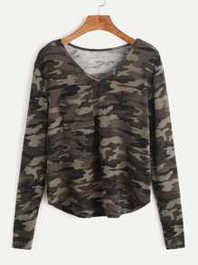 Olive Green Camo Print V Neck Pocket Front T-shirt