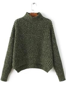 Army Green Mock Neck Drop Shoulder Dip Hem Sweater