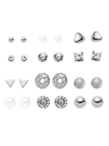 Silver Plated Rhinestone Geometric Stud Earrings Set