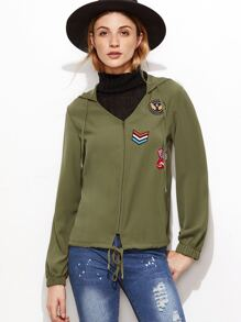 Army Green Patch Detail Drawstring Hem Hooded Jacket