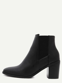 Black Pebbled PU Square Toe Chelsea Boots