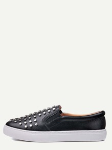 Black Faux Leather Studded Rubber Sole Flats