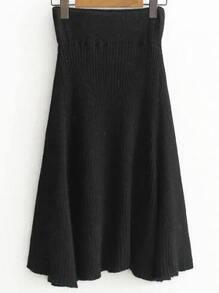 Black Elastic Waist Knit Midi Skirt