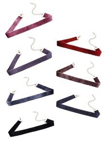Multicolor Velvet Simple Thin Choker Necklace Set