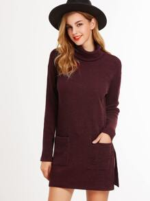 Burgundy Turtleneck Side Slit Longline T-shirt With Pocket