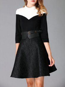 Black Contrast White Belted Jacquard A-Line Dress