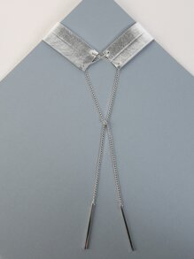 Metallic Drop Pendant Choker SILVER
