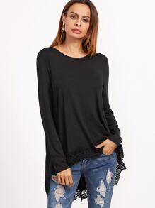 Black Contrast Lace Dip Hem T-shirt