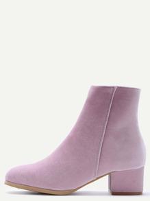 Pink Velvet Side Zipper Chunky Heel Booties