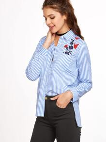 Blue Vertical Striped Side Slit Embroidered High Low Blouse