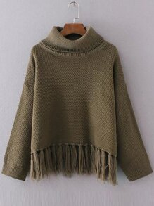 Army Green Turtleneck Drop Shoulder Fringe Hem Sweater