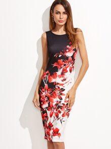 Multicolor Flower Print Sleeveless Pencil Dress
