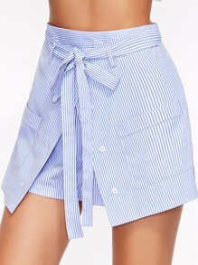 Blue Striped Buttoned Overlap Front Belted Shorts