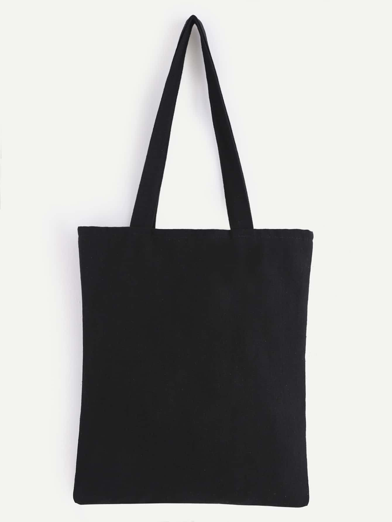 Double Layer Black Plain Canvas Tote Bag EmmaCloth-Women Fast ...
