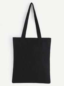 Double Layer Black Plain Canvas Tote Bag