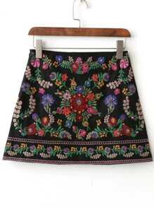 Black Floral Embroidery Mini Skirt