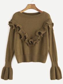 Khaki Drop Shoulder Bell Sleeve Ruffle Trim Sweater