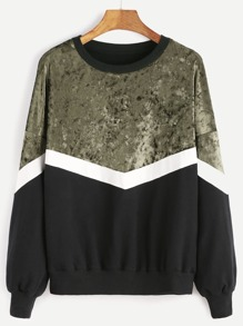 Color Block Drop Shoulder Mixed Media Sweatshirt