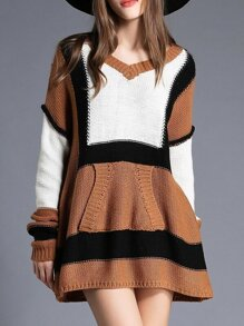 Camel Color Block Knit T-shirt Dress