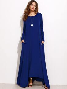 Navy Long Sleeve Shift Maxi Dress