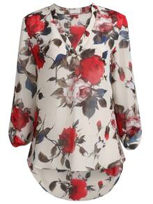 Apricot Floral Print Long Sleeve Blouse