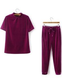 Red Short Sleeve Velvet Tee With Drawstring Pants
