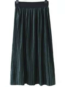 Dark Green Elastic Waist Pleated Long Skirt