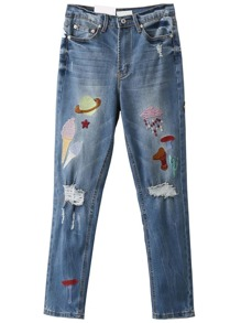 Blue Cartoon Embroidery Ripped Jeans