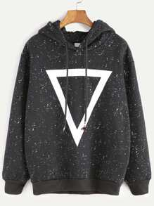 Black Hooded Geometric Print Sweatshirt