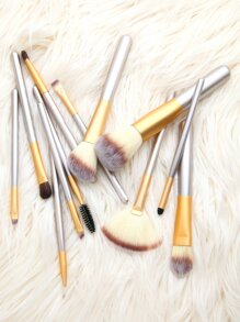 Champagne Gold 12Pcs Makeup Brush Set With Leather Bag