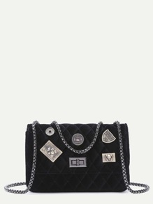 Black Embellished Boxy Quilted Crossbody Chain Bag