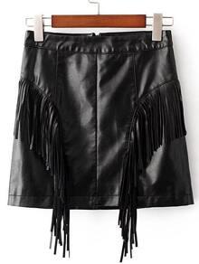 Black Fringe Detail Pu Skirt
