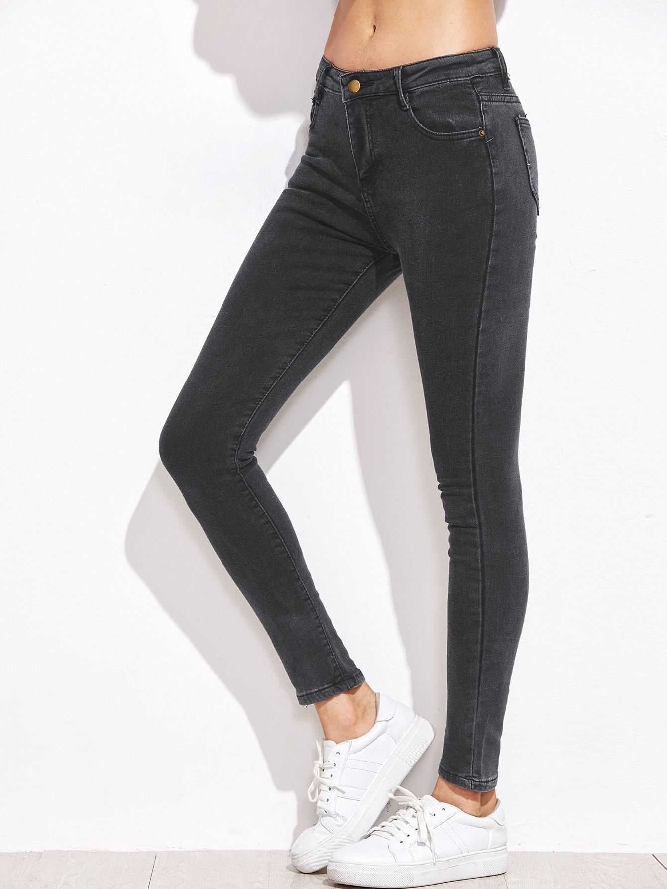 Dark Grey Skinny Ankle Jeans EmmaCloth-Women Fast Fashion Online