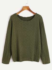 Army Green Long Sleeve Textured Sweater