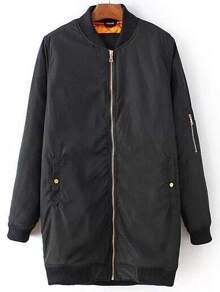 Black Zipper Detail Long Jacket