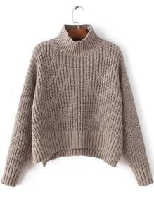 Coffee Mock Neck Drop Shoulder Dip Hem Sweater