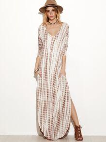 Brown Tie Dye Print Deep V Neck Curved Hem Dress
