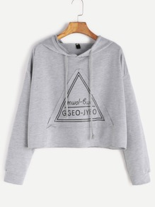 Grey Hooded Drop Shoulder Patch Crop Sweatshirt