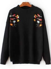 Black Bird Embroidery Dip Hem Sweater
